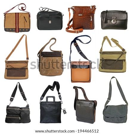 collection of men's bags - stock photo