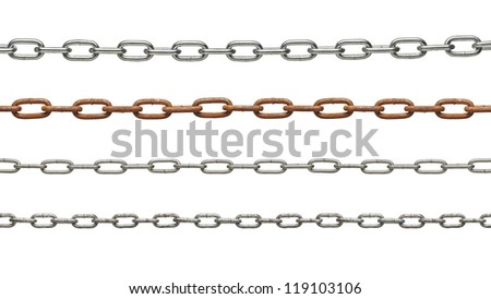 collection of metal chain parts on white background. each one is in full cameras resolution - stock photo