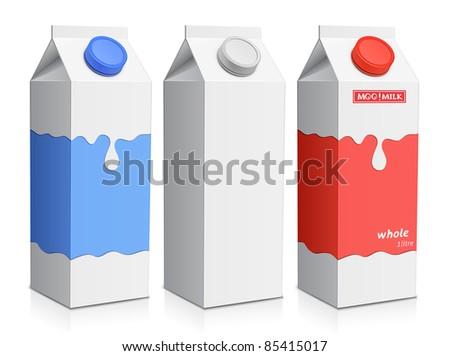 Collection of milk boxes. Milk carton with screw cap - stock photo