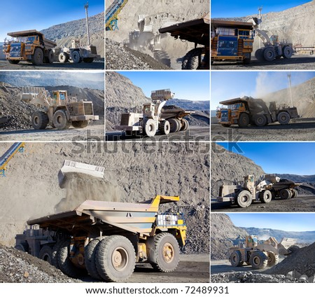 collection of mining work pictures - stock photo