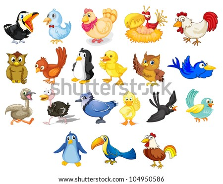 Collection of mixed cartoon birds on white - EPS VECTOR format also available in my portfolio.