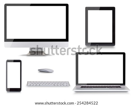 Collection of modern electronic devices isolated on white background. - stock photo