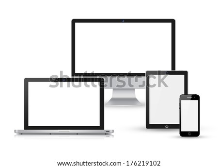 collection of modern technology devices - computer monitor,laptop, digital tablet and mobile phone with blank screen isolated on white background - stock photo