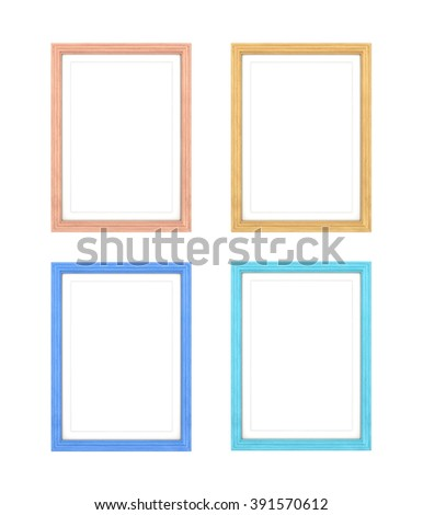 collection of multi colored frames isolated on white background