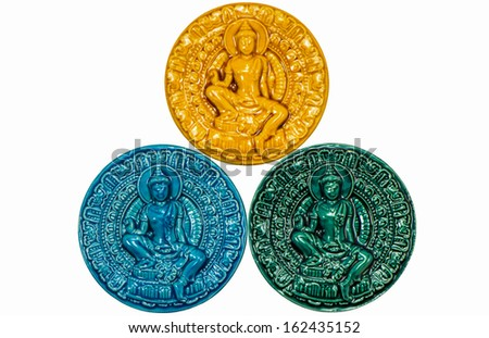 Collection of native Thai style amulet isolated on white background - stock photo