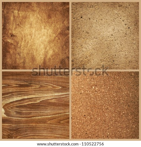 collection of natural background (old paper, cardboard, wood, cork) - stock photo