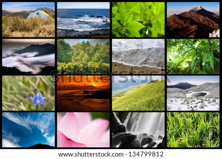 Collection of nature landscape on tv wall. - stock photo