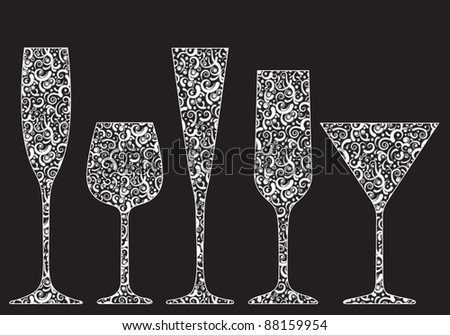 Collection of New Year's glasses made of lace - stock photo