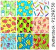 collection of nine different seamless patterns with colorful designs (raster version) - stock photo