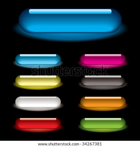 Collection of nine lozenge icons with gel effect and drop shadow - stock photo
