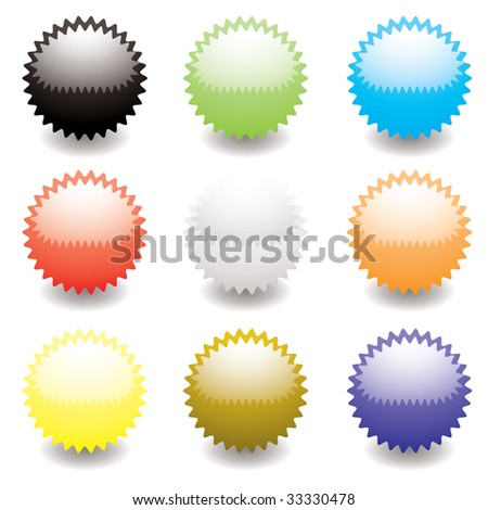 Collection of nine star icons with light reflection and shadow