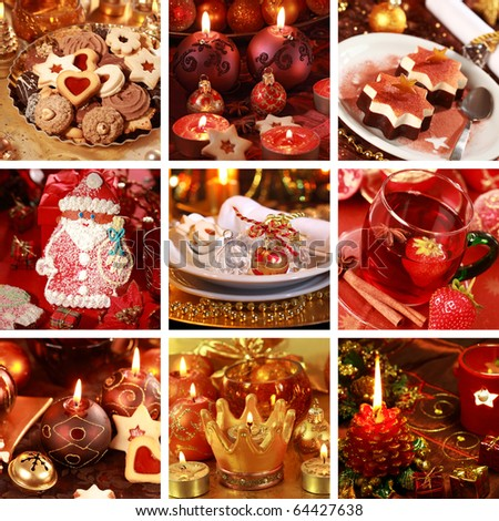 Collection of nine still live photos for Christmas in golden and red tone - stock photo