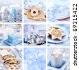 Collection of nine still live photos for Christmas in white and blue tone - stock photo