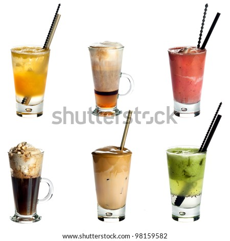 Collection of non alcoholic cocktails or drinks isolated on white background .Orange juice,Cappuccino,Fruity summer cocktail,Irish coffee,White Frappe Coffee ,Kiwi juice - stock photo