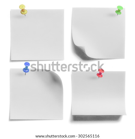 collection of Note paper with push colored pin