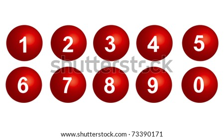 collection of numbers - red spheres - stock photo