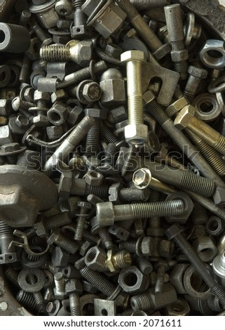 collection of nuts and bolts of different sizes