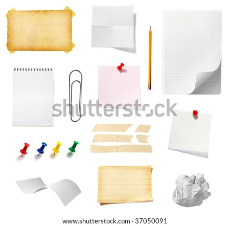 collection of office supplies on white background, each one is in full cameras resolution