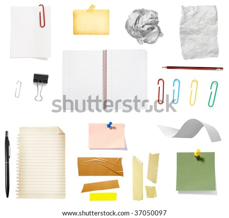 collection of office supplies on white background, each one is in full cameras resolution - stock photo