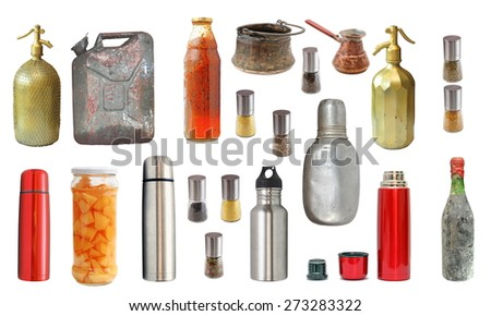 collection of old and new recipients isolated over white background - stock photo