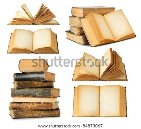 Collection of old books isolated on white - stock photo