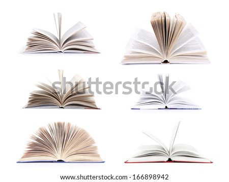 Collection of old books, isolated on white background - stock photo