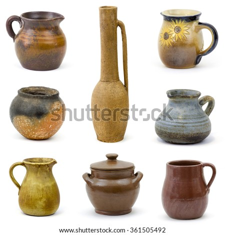 collection of old ceramic vases - collage - stock photo