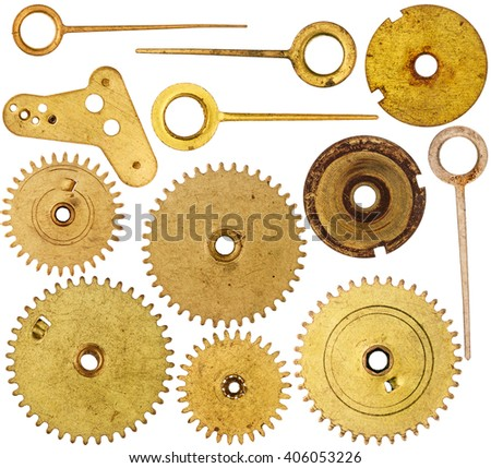 Collection of old clockwork parts isolated on white background - stock photo