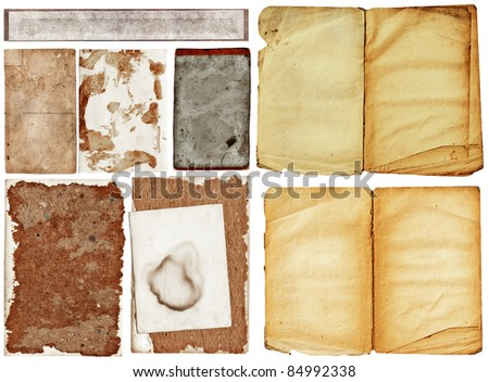 collection of old grunge papers with many textures. - stock photo