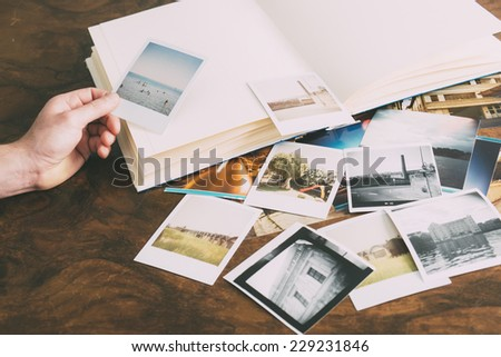 collection of old instant pictures - stock photo