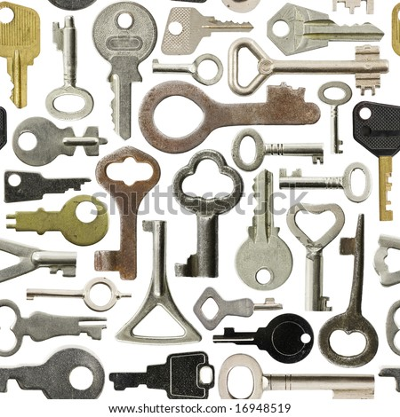 Collection of old keys isolated  seamless background - stock photo