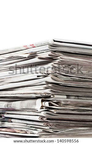 Collection of old newspapers for recycling - stock photo