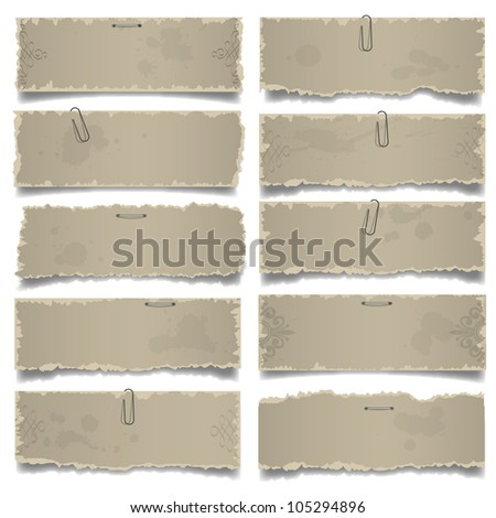 Collection of old note papers.  Raster version - stock photo