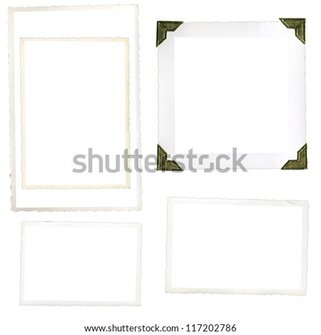 Collection of old photo corners, frames and edges isolated on white in high resolution - stock photo