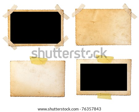 collection of old photos and postcards on white background. each one is shot separately - stock photo