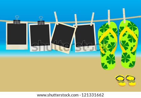 Collection of Old Retro Blank Photo Frames and Flip Flops Hanging on Rope - Summer Beach in Background - stock photo