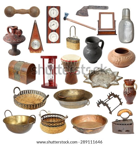 collection of old weathered  objects isolated over white background ready for your design - stock photo