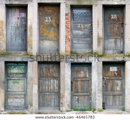 Collection of old wooden doors - stock photo