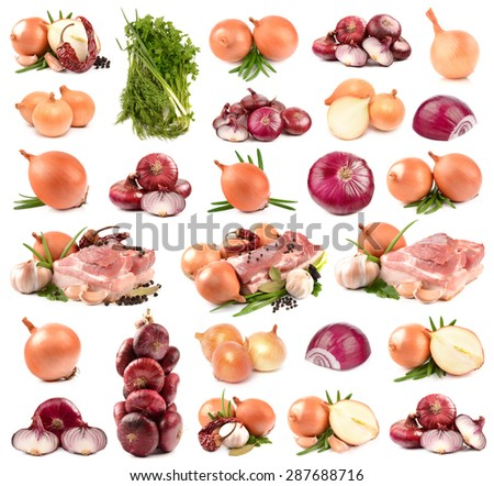 Collection of onions and meat - stock photo