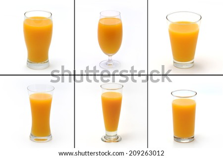 Collection of orange juice glass. Isolated on white background