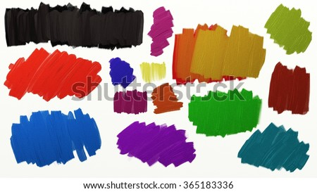 collection of paint splashes with brush stroke texture detail, digital metallic paint blobs for graphic art design use in black red blue and other colors, color splashes isolated on white background - stock photo
