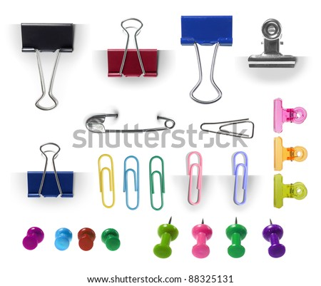 collection of paper clip, pin and thumbtack isolated over white background. each one shot separately. ready for your design