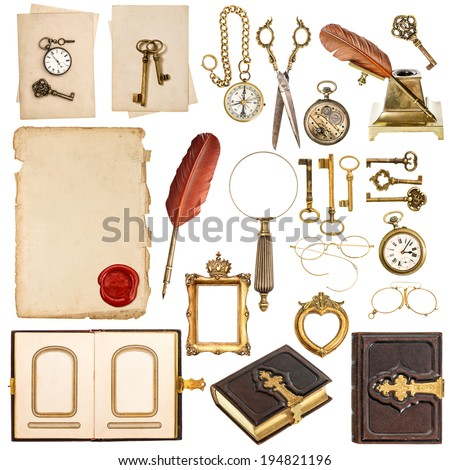 collection of paper sheets and vintage golden accessories isolated on white background. antique clock, keys, photo album, feather pen, photo frames loupe and glasses - stock photo
