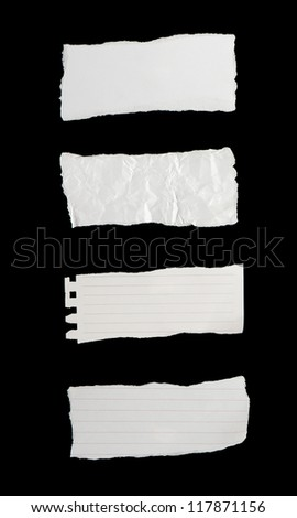 Collection of paper tears  isolated on black background - stock photo