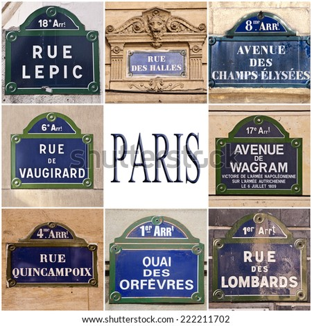 Collection of Paris streets signs - stock photo