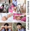 collection of patient in hospital room - stock photo