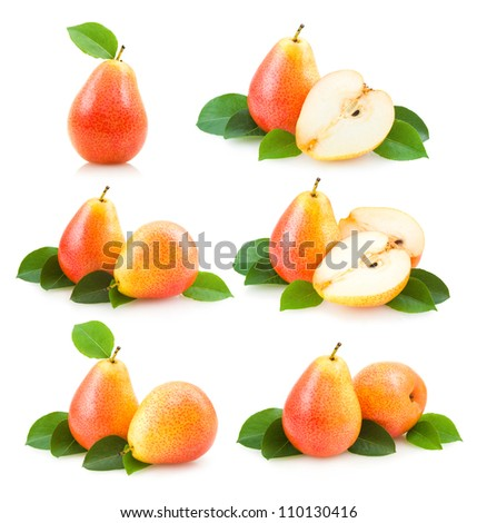 collection of 6 pear images - stock photo