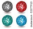 Collection of pen scribble ball icons with shadow and color sets - stock photo