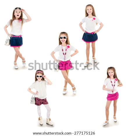 Collection of photos adorable happy little girl in sunglasses posing isolated on a white - stock photo