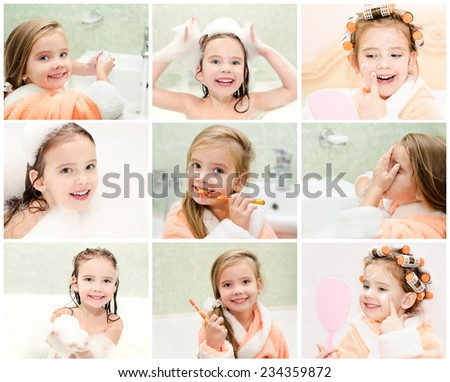 Collection of photos cute little girl washing brushing teeth and applying cream in hair curlers - stock photo
